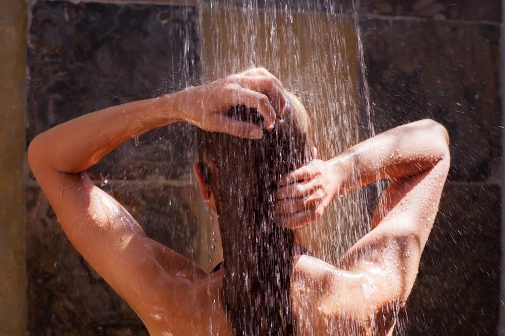 Taking shower after exercise